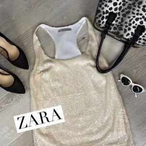 ZARA Trf Cream Sequin Racerback Tank Size S
